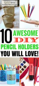 These great DIY pencil holders are seriously the BEST! I'm so happy I found amazing, affordable diy pencil holder ideas that I can try out! I'm definitely pinning this!