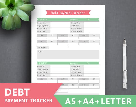 debt payoff printables