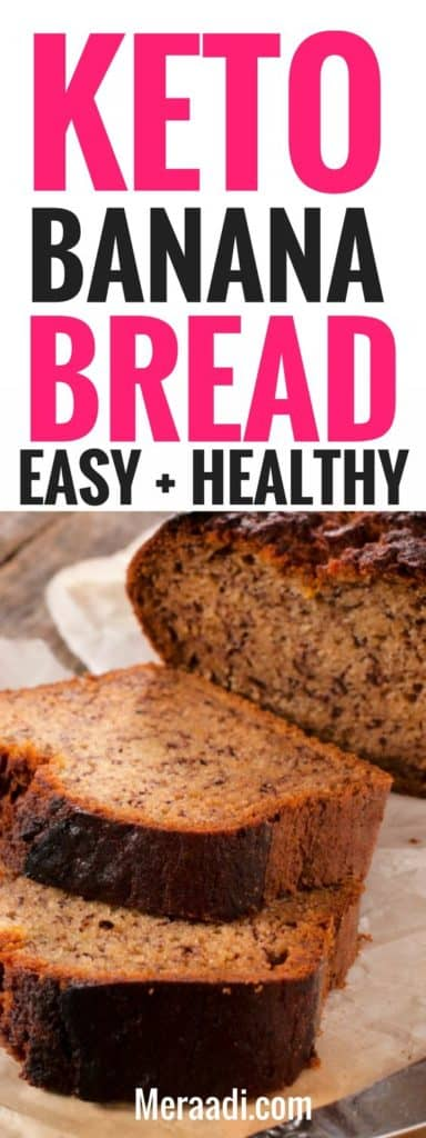 This easy and healthy keto banana bread is THE BEST! I'm so glad I found this amazing low carb keto banana bread recipe, now I can enjoy bread on my lchf diet! This banana bread is made with almond flour and is grain free and tastes so good! Definitely pinning this for later! #keto #ketogenicdiet #ketorecipes #bananabread #bread #lowcarb