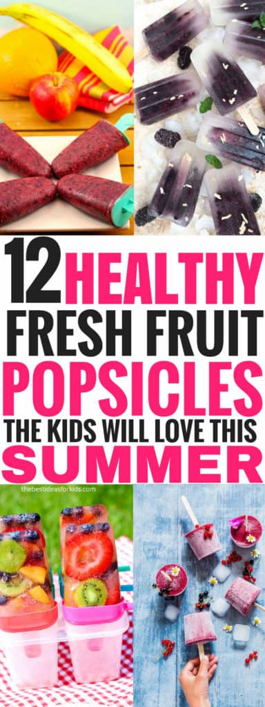 These healthy fresh fruit popsicles for kids are THE BEST! I'm so glad I found this list of pops that are easy to make. Now my kids can have fun this summer with these yummy cold snacks and desserts on hot summer days! Definitely pinning this for later! #snacks #kidsactivities #outdoor #childhood #children #food #recipes #healthyrecipes #fruit #freshfood