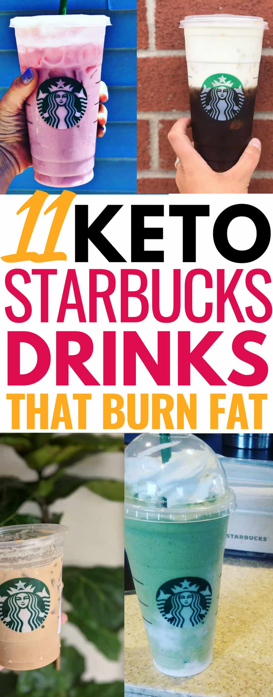 These keto Starbucks drinks are THE BEST! Plus they're perfect for keeping me burning fat on the low carb diet. I'm so glad I found these keto Starbucks fat burning drinks. Now I can truly enjoy my self guilt free when I choose to go to Starbucks! definitely pinning this for later #keto #ketodiet #ketogenic #lchf