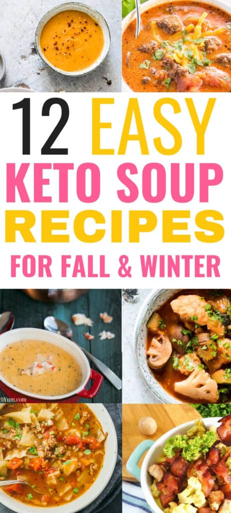 These keto soup recipes are THE BEST! I'm so glad I found these easy keto soup recipes for the low carb and keto diet. Now I can enjoy these comfort food recipes during fall and winter and still lose weight eating these tasty crockpot, chicken, shrimp, beef, cabbageand sausgae soups on the ketogenic diet! Definitely pinning this for later! #keto #ketorecipes #ketogenicdiet #ketogenicrecipes #lowcarbrecipes #souprecipes #soups