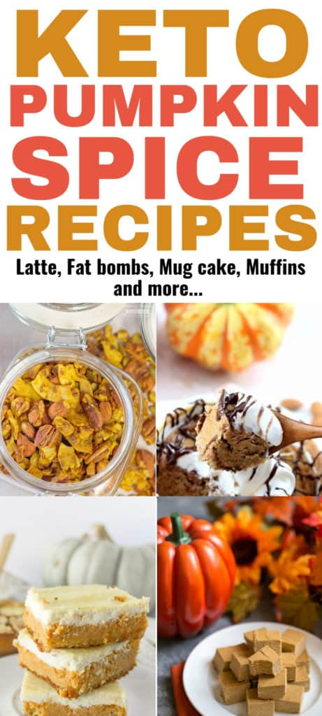 These keto pumpkin spice recipes are THE BEST! I'm so glad I found these awesome keto pumpkin recipes for fall, Now I can really enjoy food this season with no guilt and still lose weight on the keto diet. Definitely pinning these low carb pumpkin spice recipes for later! #keto #ketorecipes #pumpkinrecipes #food #ketogenicdiet #ketodiet #recipes #pumpkinspice