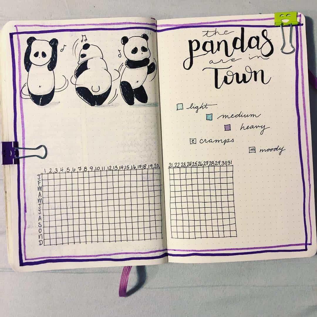 bullet journal period tracker