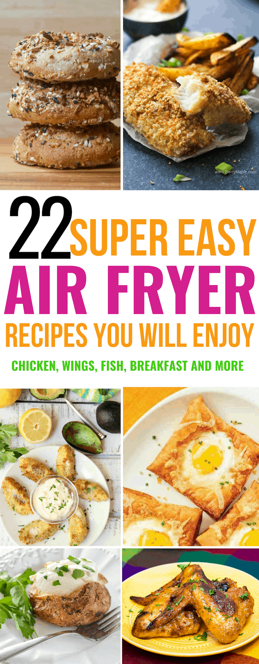 Air fryer recipes including air fryer chicken, air fryer wings, air fryer fish, air fryer breakfast and so much more!